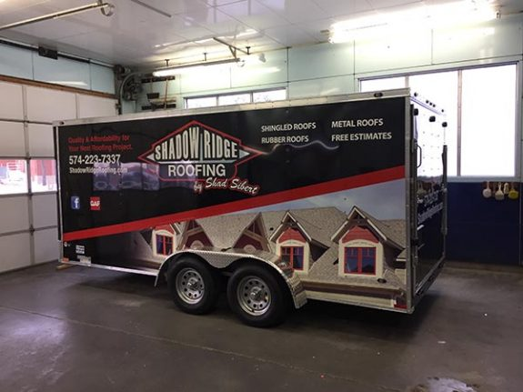 Trailer wrapped for Shadow Ridge Roofing