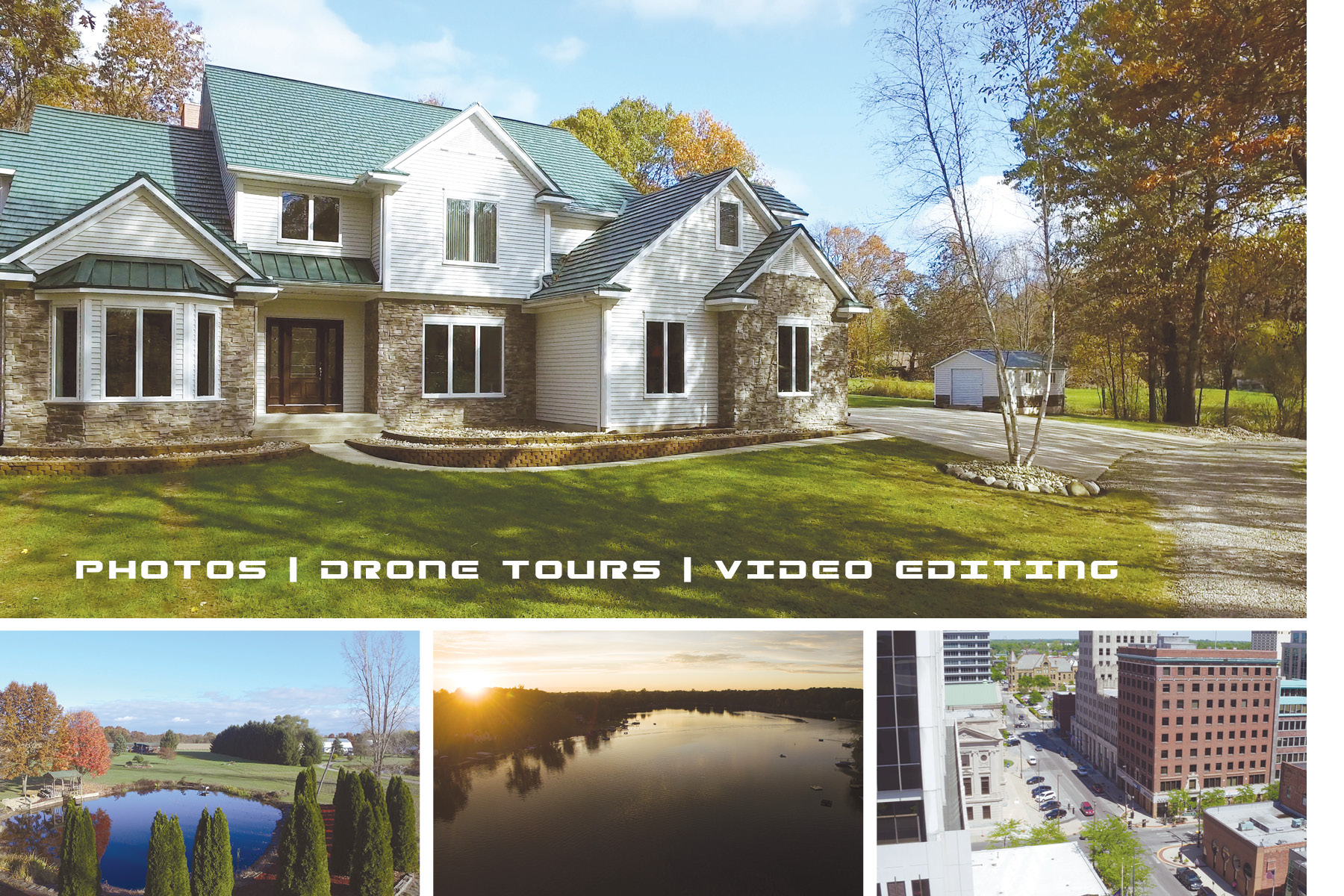 Drone postcard including photo of house and lake scenery